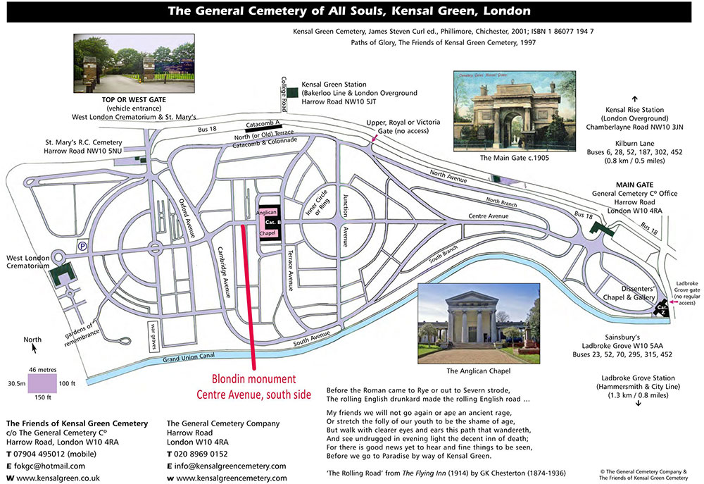 Map of Kensal Green Cemetery